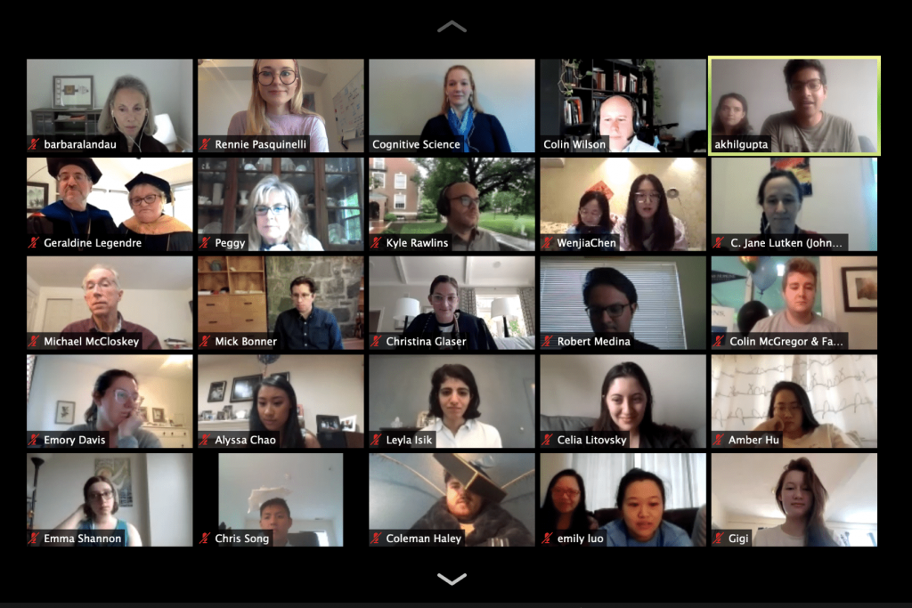 A screenshot of 25 videoconference participants at a virtual commencement reception.