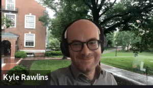 Screenshot of Prof. Kyle Rawlins during virtual commencement reception