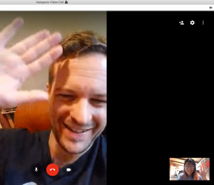 screenshot of Gordon Kraft-Todd in a video meeting with Carol Lu